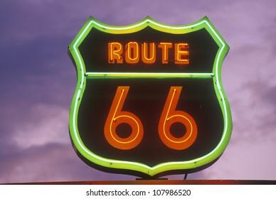 A neon sign of Â?Â?Route 66