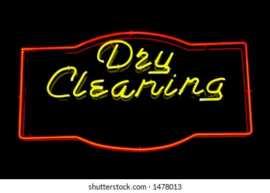 Neon sign advertising dry cleaning