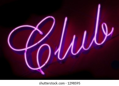 "Neon sign ""Club"", soft-focused(to add more glowing effect)"