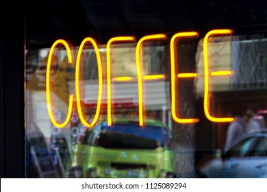 Neon sign at the coffee shop