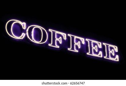 Neon sign, Coffee. Violet glow.