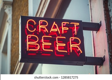 Neon sign for craft beer in East London