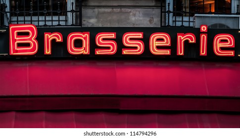 Neon sign of French bar, Paris, France