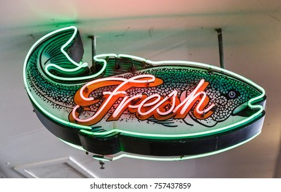 Neon Sign for Fresh Fish