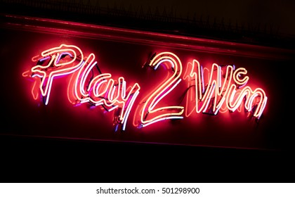Neon sign highlighting a gambling venue