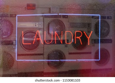 Neon Sign Laundry - Rainy Window Sign