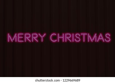 Neon sign of Merry Christmas lettering . Concept of Merry Christmas and Happy New Year.