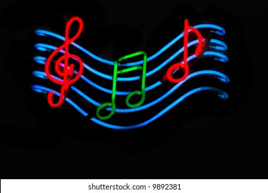 Neon sign with musical notes