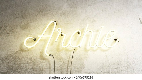 Neon sign saying the word name Archie