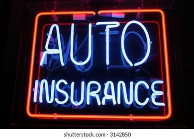 "Neon Sign series  ""auto insurance"""