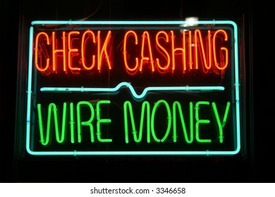 "Neon Sign Series ""check cashing  wire money"""