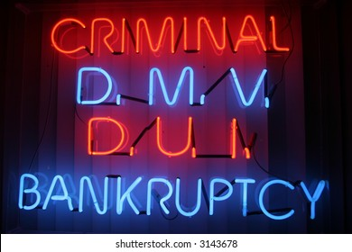 """neon sign series"" ""criminal, dmv, dui,bankruptcy"""