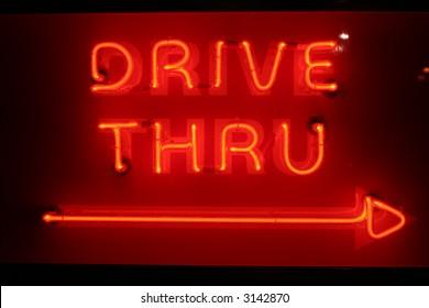 "Neon Sign series  ""Drive through ----->"""
