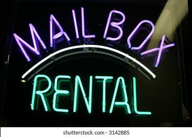 "Neon Sign series  ""mail box, rental"""