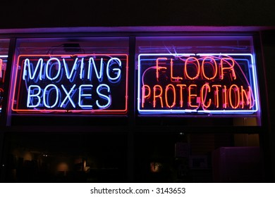 """neon sign series"" ""moving boxes, floor protection"""