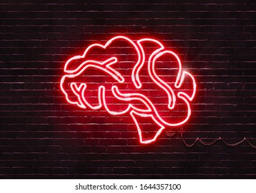 Neon sign shaped like a brain. The color can be adjusted easily.(Illustration series)