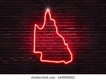 Neon sign shaped like Queensland. The color can be adjusted easily.(Illustration series)