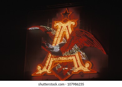 A neon sign showing the Anheuser-Busch logo