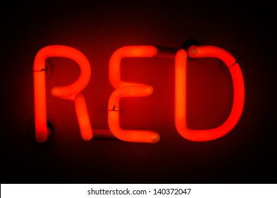 Neon Sign spelling Red
