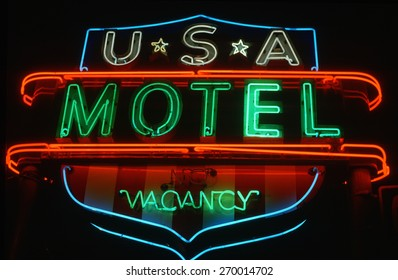 Neon sign for U.S.A. Motel advertising vacancy in Hartford, Connecticut