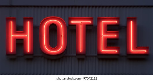 Neon Sign with the word Hotel