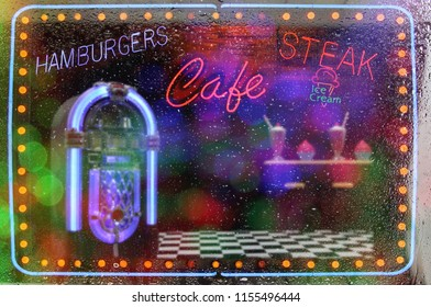 Neon Signs Cafe Photo Composite Rainy Window Design