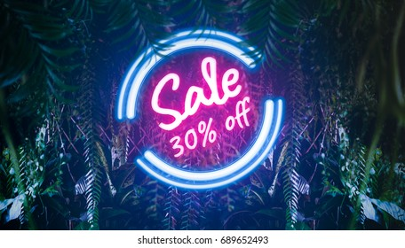 Neon summer light sale 30% off discount promotion in tropical jungle with neon light tropic and leaves, exotic palm leaf. For your unique selling poster, flyer, banner, ads in several occasion.