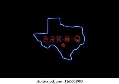 Neon Texas Cafe Sign, Photo Composite Image Bar-B-Q