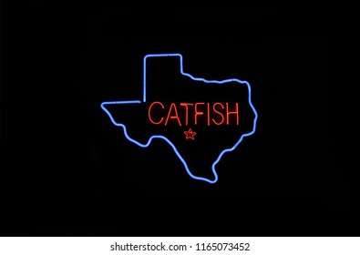 Neon Texas Cafe Sign, Photo Composite Image Catfish