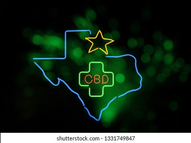 Neon Texas CBD Sign Photo Composite