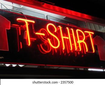 Neon T-shirt sign