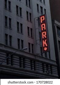 Neon vintage parking sign
