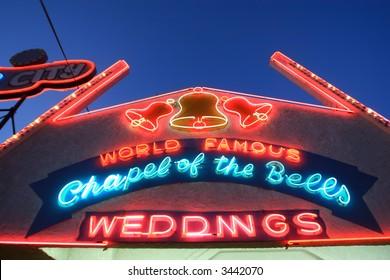 Neon Wedding Chapel Sign in Las Vegas, USA