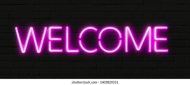Neon WELCOME sign on black brick wall