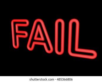 Neon word FAIL isolated on black, 3d illustration