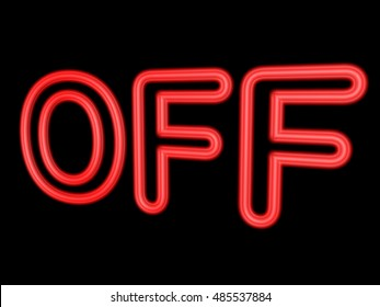 Neon word OFF isolated on black, 3d illustration