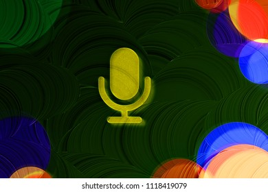 Neon Yellow Microphone Icon on the Deep Green Background With Colorful Circles. 3D Illustration of Yellow Mic, Microphone, Old Microphone, Radio Mic Icon Set on the Green Background.
