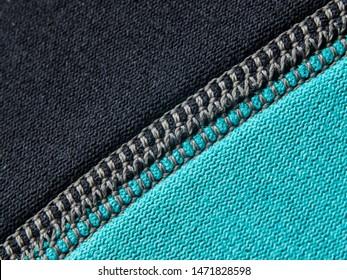 Neoprene stitch macro in black and blue