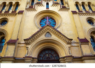 Neo-Romanesque yellow facade of Swedish St. Catherine's Church in  Saint Petersburg, Russia