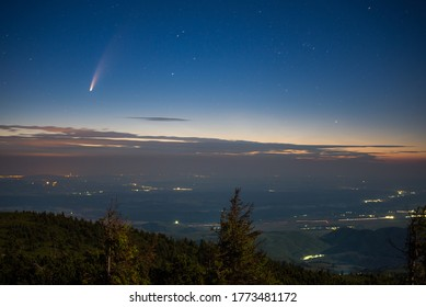 Neowise comet above the hills of Transylvania - Romania.