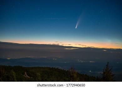 Neowise comet over the hills of Transylvania - Romania.