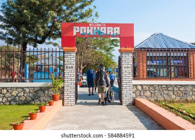 Nepal - 3 January 2017 :: Pokhara airport gateway to trekking in Nepal , airplane
