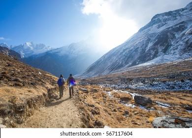 Nepal - 31 December 2016 :: mountaineer are trekking to Himalayas sanctuary , hiking