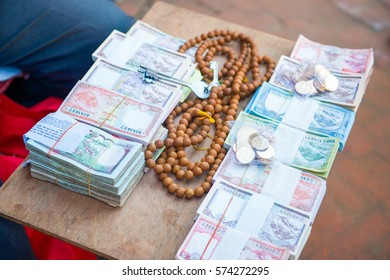 Nepal - 3January 2017 :: local money exchange shop at Boudhanath Stupa Kathmandy, Nepal