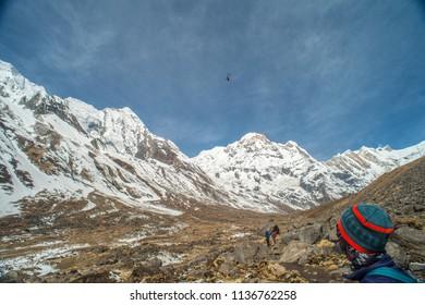 Nepal, Annapurna Base Camp, ABC. nice view, huge mountain and clear sky.