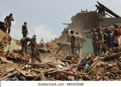 Nepal Army clearing the rubbles after the earthquake damage in Nepal.