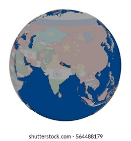 Nepal with embedded national flag on political globe. 3D illustration isolated on white background.