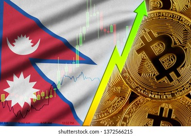 Nepal flag and cryptocurrency growing trend with many golden bitcoins