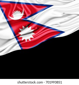 Nepal flag of silk with copyspace for your text or images and black background -3D illustration