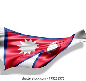 Nepal flag of silk with copyspace for your text or images and white background -3D illustration